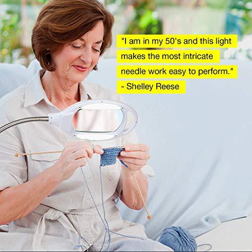 Brightech LightView Pro LED Magnifying Floor Lamp - Daylight Bright Full Spectrum Magnifier Lighted Glass Lens - Height Adjustable Gooseneck Standing Light - For Reading Task Craft Lighting - White by Brightech (Image #4)
