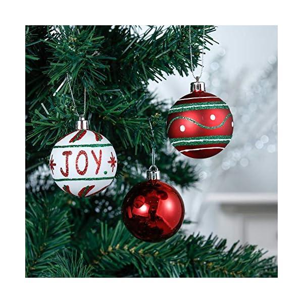 Valery Madelyn Palle di Natale 30 Pezzi 6cm Palline di Natale, Collezione Classica Rosso Verde e Bianco Infrangibile Ornamenti di Palla di Natale Decorazione per la Decorazione Dell'Albero di Natale 4 spesavip