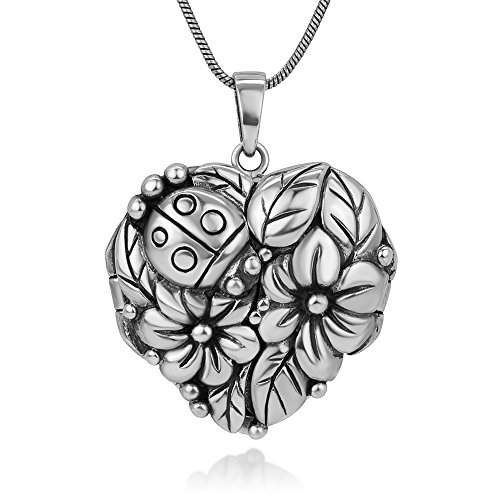 Chuvora Oxidized Sterling Silver Lucky Ladybug Flowers Leaves Garden Heart Shaped Locket Necklace 18