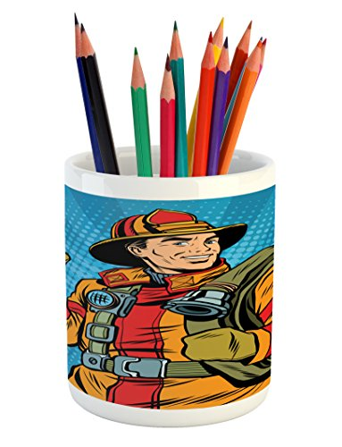 Lunarable Fireman Pencil Pen Holder, Comic Book Firefighter Figure with Uniform and Thumbs Up on Halftone Background, Printed Ceramic Pencil Pen Holder for Desk Office Accessory, Multicolor