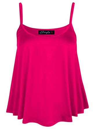 97743b5f6ed6 ZEE FASHION New Womens Ladies Plain Sleeveless Swing Strappy Camisole Cami  Vest Top Flared Mini Plus