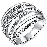 FENDINA Womens Jewelry 18K White Gold Plated Wedding Stacking Rings Weave Criss Cross Diamond Ring Band