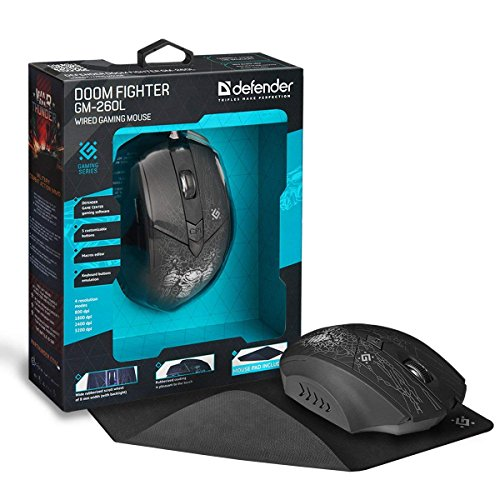 NSInewW DEFENDER Backlit Wired Gaming Mouse – PC or Laptop Gaming Mice – 5 Macro Buttons – For Windows 2000/XP/Vista/7/8/10, Mac OS X10 – 4 Mouse Resolutions Modes – Includes Mouse Pad