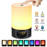 Wake Up Light Digital Alarm Clock SOLMORE LED Bedside Lamp Touch Control Wake-Up Light Sunrise Simulation with Dimmable Warm White/7 Colors/6 Nature Sounds Night Lights for Bedroom Babyroom Decorations USB Rechargeable