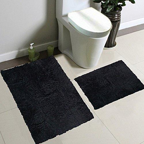 2pc Fancy Collection Bath Set Solid Black Super Soft -