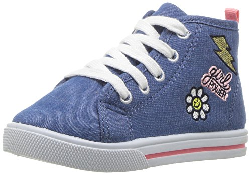 Carter's Girls' Ginger3 Novelty High-Top Casual Mary Jane Flat, Blue, 5 M US Toddler