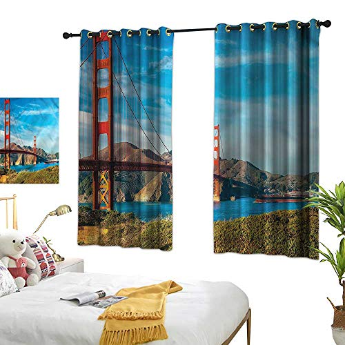 G Idle Sky Polyester Curtain Landscape Printing Insulation San Francisco Ocean View 63