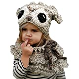 Ecurson Winter Kids Warm Owl Hat Knitted Hooded Scarf Beanies Set (Khaki)