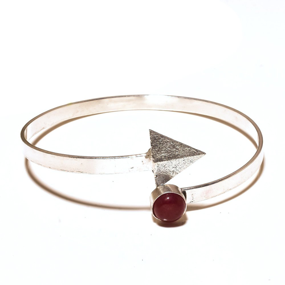 Handmade Jewelry Red Dyed Ruby Sterling Silver Overlay Bangle//Bracelet Free Size Gorgeous