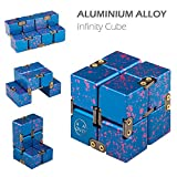 Metal Infinity Cube, Stress Relief Cube for Adult & Kids, Fidget Finger Toy (Blue & Pink)