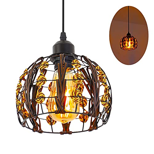 Rattan Light Fixture, Unique Handmade Basket Pendant Light, Rattan Chandelier with Woven Lamp Shade, E26 Lamp Holder, Bulb No Included