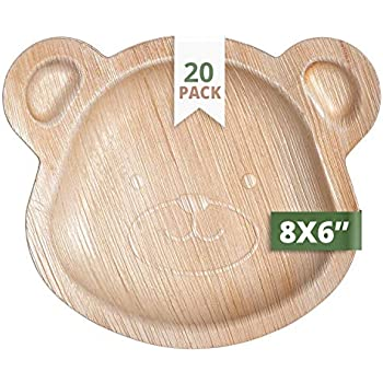 CaterEco Palm Leaf Plates Set (Pack of 20) | Kids Teddy Bear Plates| Ecofriendly Disposable Dinnerware | Heavy Duty Biodegradable Party Utensils for ...