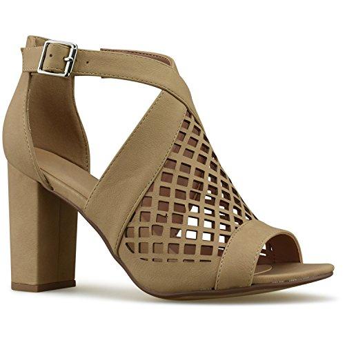 Cheap Premier Standard Women's – Perforated Stacked Wooden Block Heel Shoe – Comfortable Walking Heeled Sandals, TPS Heels-Eviheeb Natural NB Size 7