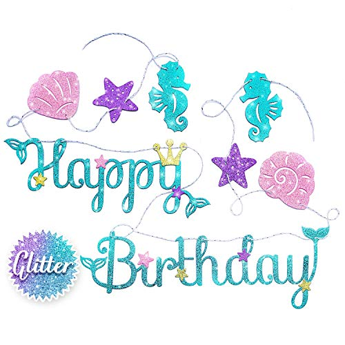 Mermaid Happy Birthday Banner - Mermaid Party Supplies Decorations | PREMIUM Under the Sea Mermaid Birthday Party Decor Theme | NEW for 2019, Cute, Sparkle Glitter, and Pre-assembled! ()