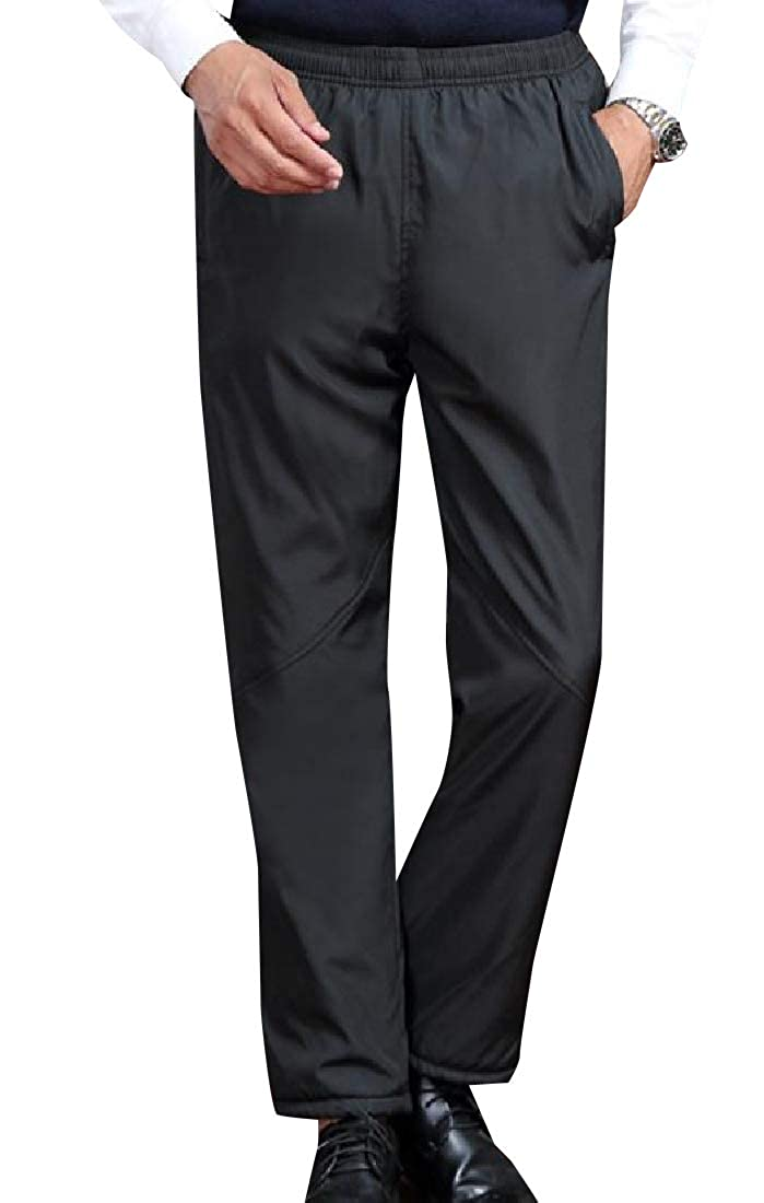 YUNY Men Solid Pull On Style Thickening Casual Pant with Pockets Black 2XL