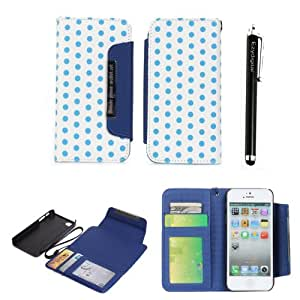 Ezydigital 2 in 1 Moveable Polka Dot PU Leather Handbag Wallet Pouch For iPhone 5 5S