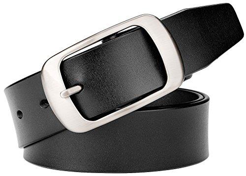 [WERFORU Genuine Leather Belts for Men Dress Belt 36mm Wide With Square Buckle] (Leather Square Buckle Belt)