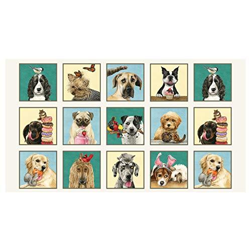 Panel Novelty - Elizabeth's Studio Doggie Drama 24'' Novelty Dog Panel Cream