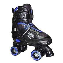 Mongoose Adjustable Quad Roller Skate- Blue and Black- Sizes 1-4