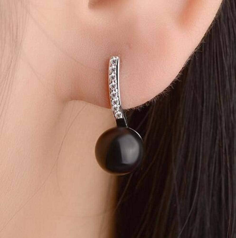 Novedad Joyas Pendientes Simples Pendientes de Ágata Pendientes de Diamantes de Joyería de Moda de Estilo Coreano para Mujer, Yao Xiang, Ónix negro