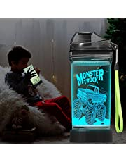Lightzz Kids Water Bottle with 3D Glowing Monster Truck LED Light - 14 OZ Tritan BPA Free - Creative Ideal Travel Cup Car Race Gift for School Kid Boy Child Holiday Camping Picnic