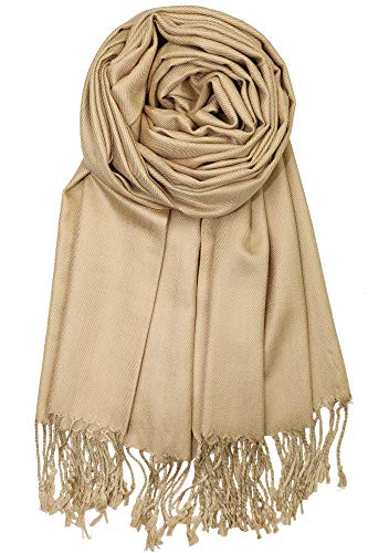 Shawl Neck (Achillea Large Soft Silky Pashmina Shawl Wrap Scarf in Solid Colors (Camel))