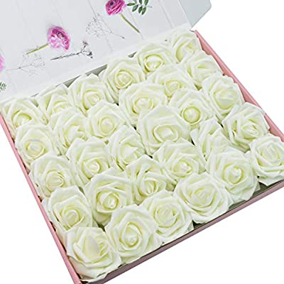 DerBlue 60pcs Artificial Roses Flowers Real Looking Fake Roses Artificial Foam Roses Decoration DIY for Wedding Bouquets Centerpieces,Arrangements Party Baby Shower Home Decorations