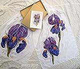 Handpainted Silk Shawl, Scarf with Purple Iris, Floral silk scarf 55/12-15/75 in,Mother Birthday, Gift Woman, Summer Fashion, Scarf, Shawl Luxury, Shawl Batik Irises, Floral Silk Skarf.