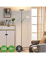 Lampada LED da terra 'Elina' (Moderno) colore Grigio, in Metallo ad es. Soggiorno & Sala da pranzo (2 luci, A+, lampadina inclusa) di Lindby | lampada a LED da pavimento, lampada da pavimento, lampada