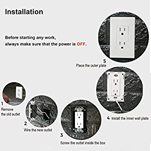 [10 Pack] BESTTEN 15A Tamper Resistant Decor Receptacle Standard Duplex Electrical Wall Outlet, Decorative Screwless Wall Plates Included, Residential and Commercial Grade, UL Listed, White