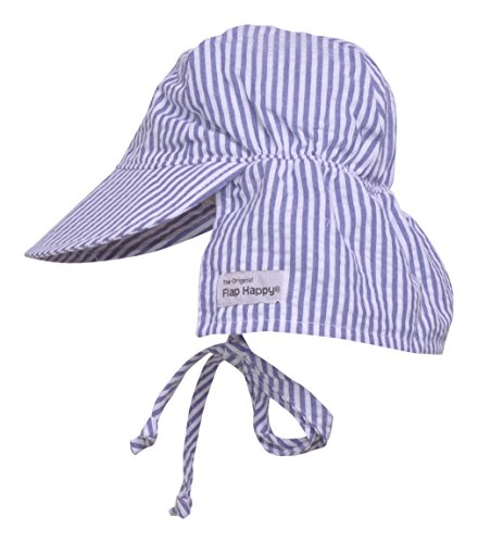 Cap Face Happy (Flap Happy Baby Boys' UPF 50+ Original Flap Hat with Ties, Chambray Stripe Seersucker, Small)