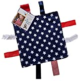 Lovey Chew Blanket Crinkle Toy Tag Square Sensory by Baby Jack (Flag (non crinkle))