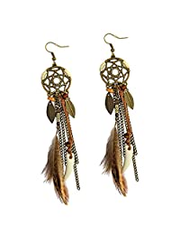 D DOLITY Punk Vintage Long Tassel Feather Beads Drop Wolf Tooth Pendant Earring Fish Hook Earrings