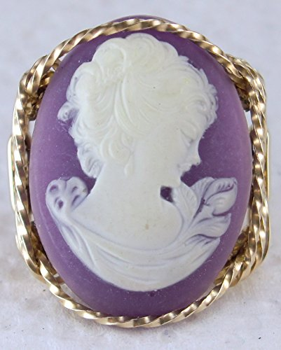 Fine Lady Large Lavender Cameo .925 Sterling Silver Ring or 14k Gold gf Art Jewelry HGJ