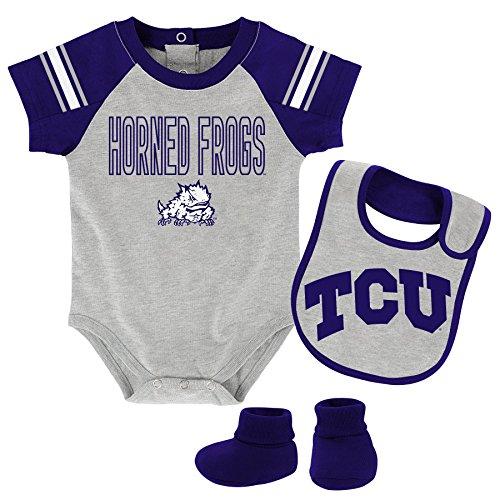 "OuterStuff NCAA TCU Horned Frogs Children Boys""Blitz"" Onesie, Bib & Bootie Set, 3-6 Months, Heather Grey"