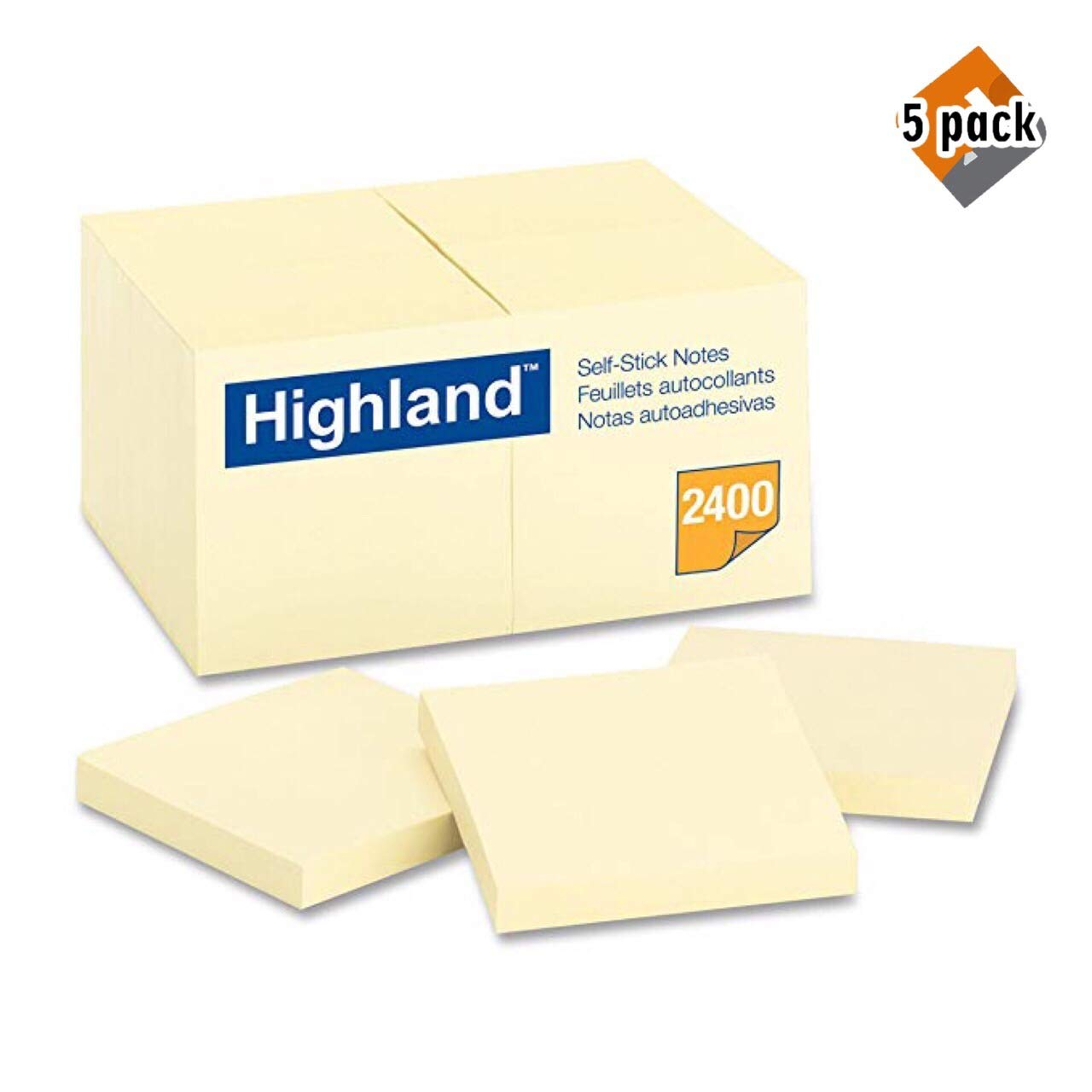 Highland Notes, 3 x 3-Inches, Yellow, 24-Pads/Pack - 5 Pack