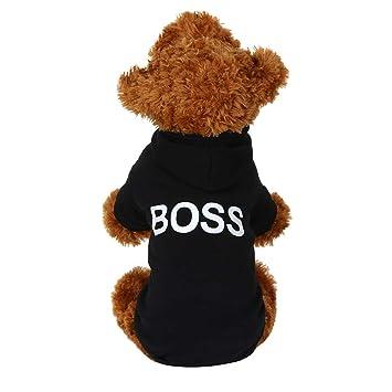 Fossrn Ropa Perro, Mascota Perrito Boss Patrones Impresos Sudadera con Capucha - Abrigo Ropa Perro