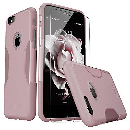 - iPhone 6 Plus Case, 6s Plus Pink Rose Gold Bonus Tempered Glass Screen Protector [Slim Rugged Protection Kit] [Built-In Camera Hood] TPU Bumper PC Back SaharaCase