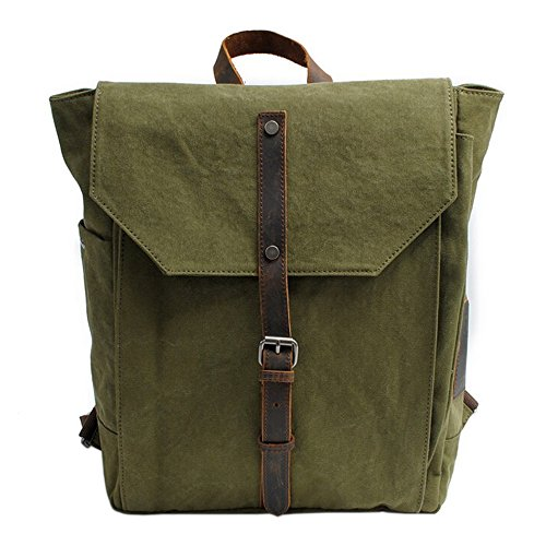 Green Thick Boshiho Canvas Backpack Bag Shoulder Outdoor Travel School Vintage Hiking Camping Rucksack nTrqRT