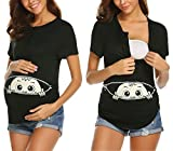 Ekouaer Maternity Baby Peeking Shirt Funny Pregnancy Cute Announcement Pregnant T Shirts