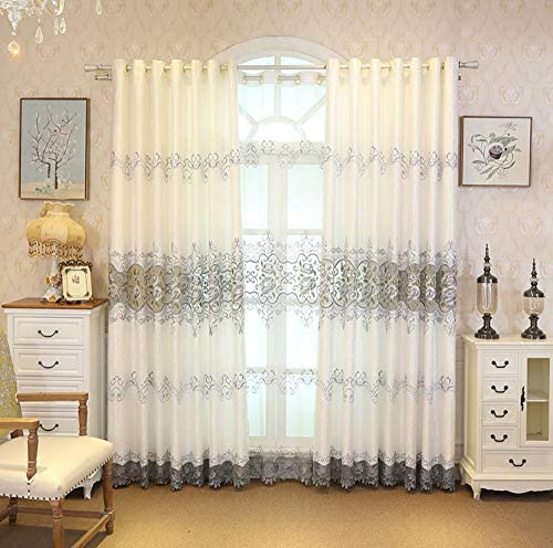 ZZCZZC 1 Pair 2 Panels European Embroidered Home Windows Drapes Panel Luxury Hollowed Cloth Curtains for Living Room Gray Floral Half Shading Valances Grommet Top Fringed Curtains W114 x L102 inch