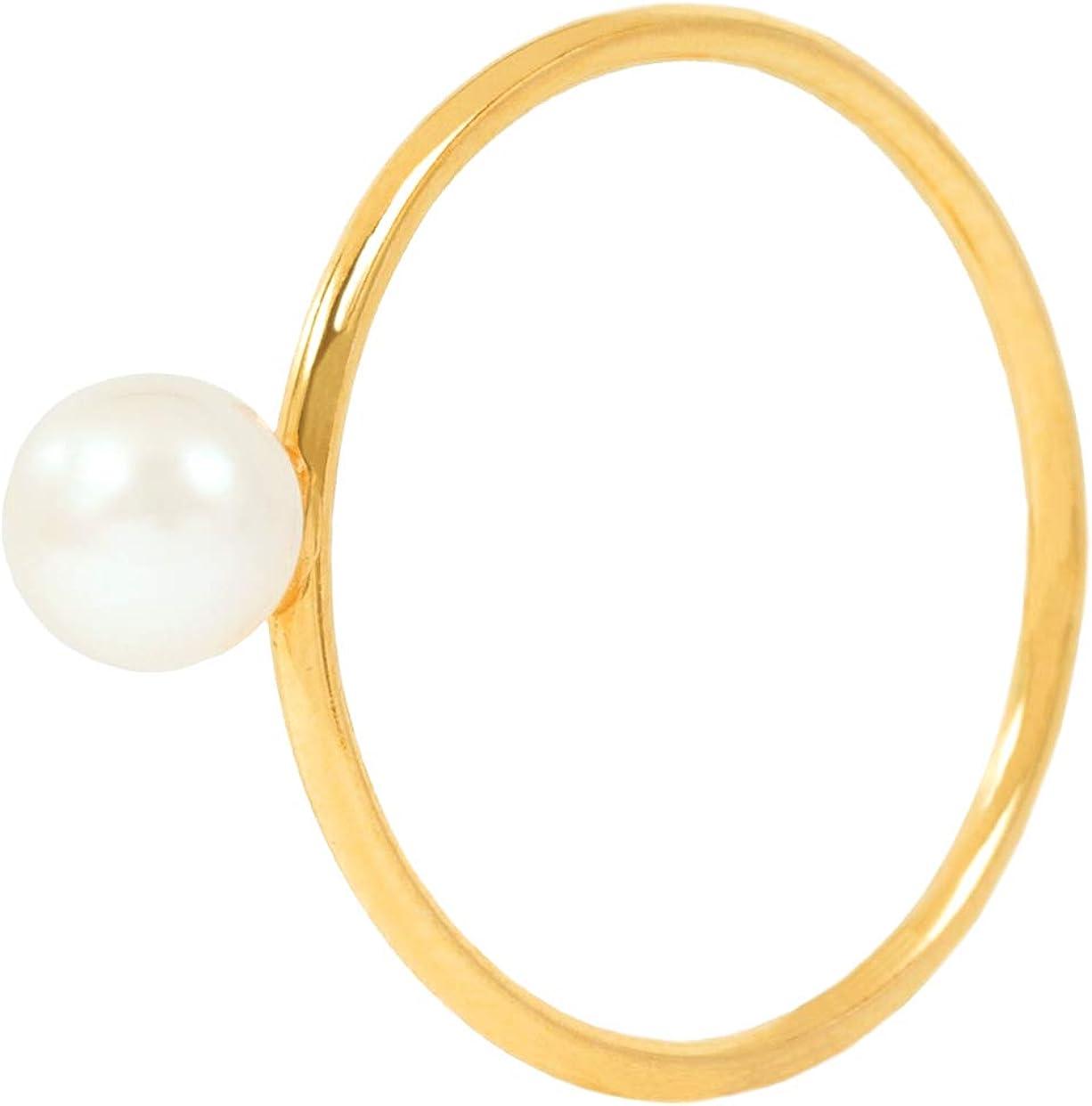 Charlotte Wooning - Anillo de Perlas para Mujer, diseño de Pluto, Color Dorado y Plateado, Chapado en Oro, RPSg-56