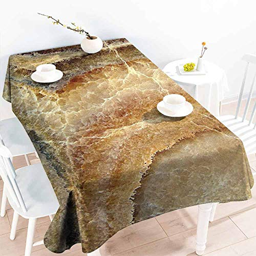 HCCJLCKS Restaurant Tablecloth Marble Onyx Stone Surface Pattern Banded Variety Layered Differing Lines Image Picnic W60 xL102 Sand Brown Cinnamon ()