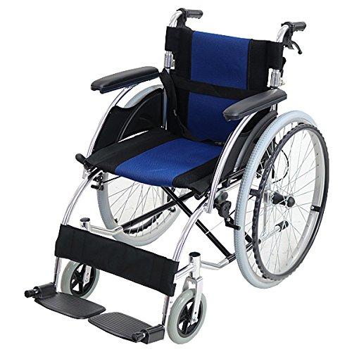 車椅子 アルミ合金製 青 約13kg 軽量 折り畳み 自走介助兼用 介助ブレーキ付き(ロック機能搭載) ノーパンクタイヤ 自走用車椅子 自走式車椅子 折りたたみ コンパクト 自走用 介助用 自走式 自走 介助 車椅子 車イス 車いす ブルー wheelchairs07blue B06WWB8F1Z