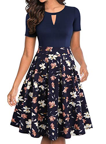 YATHON Women's Dresses, Vintage 1950s Hepburn Style Floral Patchwork Pockets Ball Gown Homecoming Tea Dress for Work Party Wedding Guest (XL, YT018-Navy Floral 01)