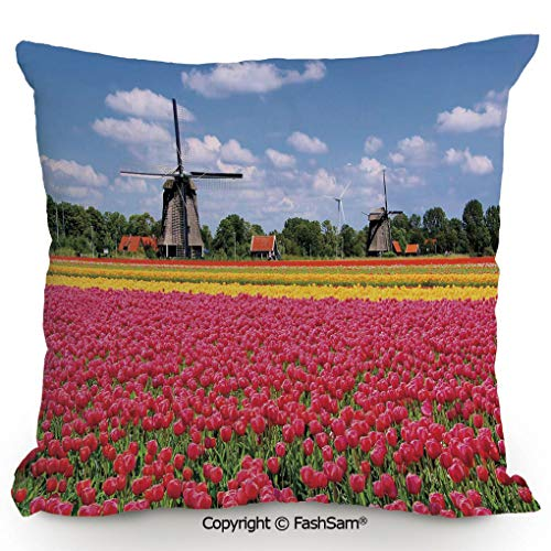 (FashSam Polyester Throw Pillow Cushion Colorful Pink Tulips Fresh Springtime Field European Historic Traditional Decorative for Sofa Bedroom Car Decorate(18