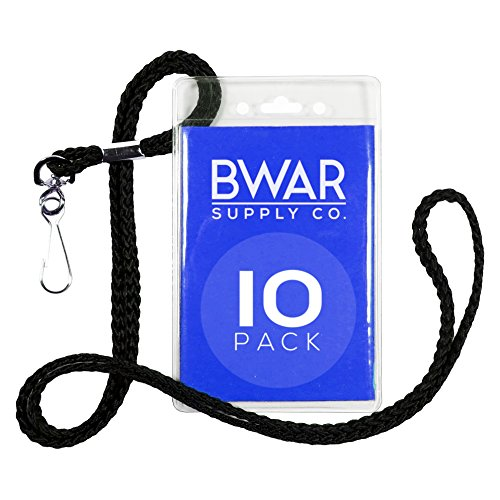 [ID Badge Holder with Black Lanyard Bundle (10 pack)] (Affordable Costumes)
