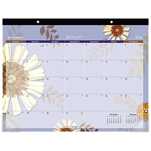 "AT-A-GLANCE Monthly Desk Pad Calendar, January 2018 - December 2018, 22"" x 17"", Paper Flowers (5035)"