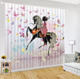 LB African Decor Curtains,2 Panels Room Darkening Blackout Curtains,African Girl on Horseback 3D Effect Print Window Treatment Living Room Bedroom Window Drapes,104 x 63 Inches