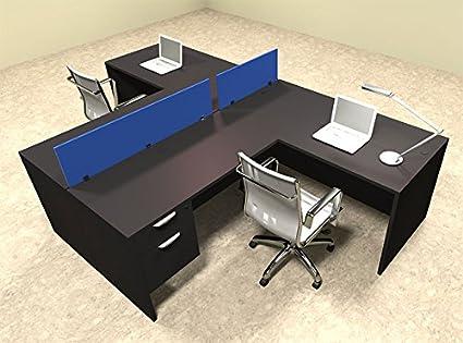 Amazon Com Two Person Blue Divider Office Workstation Desk Set Ot